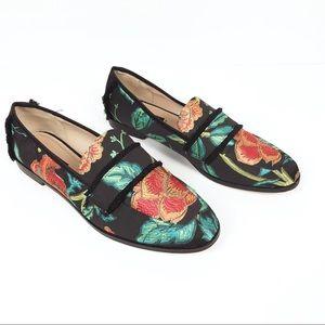 Zara | Satin Slipper floral print shoes size 39